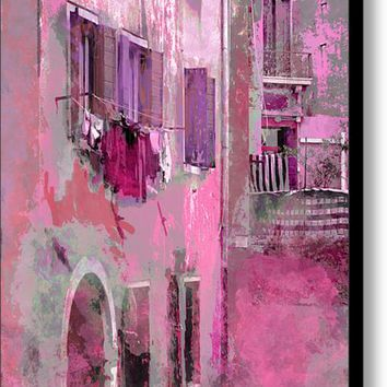 Venice Washday In Pink Canvas Print / Canvas Art By Suzanne Powers