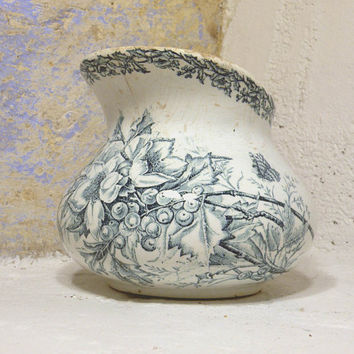 French antique ironstone transferware jug. French shabby chic toilet jug. French country home. antique crazed pitcher floral transferware