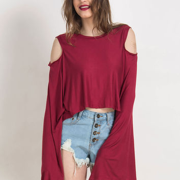 Red Cut-Out Bat Sleeve Top