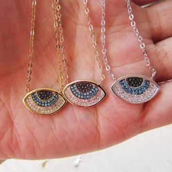 New Arrival three colors high quality pave CUBIC ZIRCONIA evil eye charms chain girl necklace