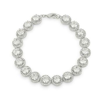 Galina Round Halo Statement Cubic Zirconia Bracelet - 7in