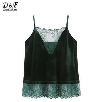 Dotfashion Velvet Cami Tops Women Dark Green Patchwork Lace Trim Sexy Top Strap Clothing 2017 New Fashion Casual Camisole