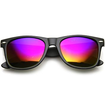Retro Matte Black Horned Rim Flash Colored Lens Sunglasses 58mm 8025