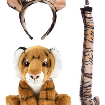 Wildlife Tree Stuffed Plush Tiger Ears Headband and Tail Set with Baby Plush Toy Tiger Bundle for Pretend Play Animals Dressup