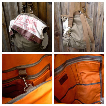 H  Seeds - St Louis, Missouri - Convertible Fold-over Hobo Backpack - Upcycle OOAK Canvas & Leather Tote... Selina Vaughan