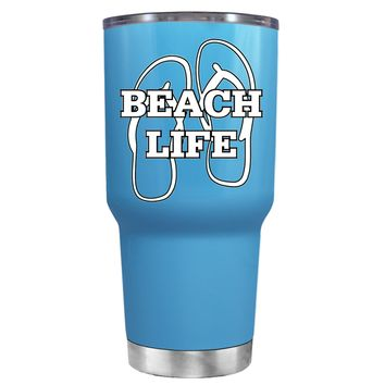 The Beach Life Sandals on Baby Blue 30 oz Tumbler Cup