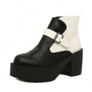 Round Toe Platform Ankle Boots with Belt Buckle