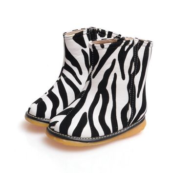 Arya baby Boots for Girls Spring Autumn fashion Zebra stripes anti-slip Handmade Leather Boots Baby Shoes