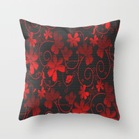Elegant Red Floral Throw Pillow by kasseggs