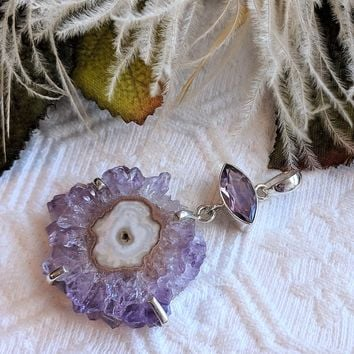Unique Artisan Crafted Sterling Silver Faceted Amethyst & Stalactite Pendant