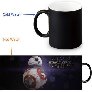 BB8 cups star wars cups home decal changing color mug heat disappearing transforming coffee wine whiskey beer cup