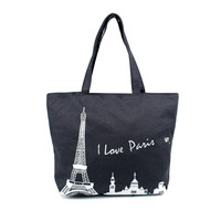 Large Space 2016 Women Canvas Handbag Zipper Shopping Shoulder Bag Paris Eiffel Tower Girls Beach Bookbag Tote Hot Sale Bolsa