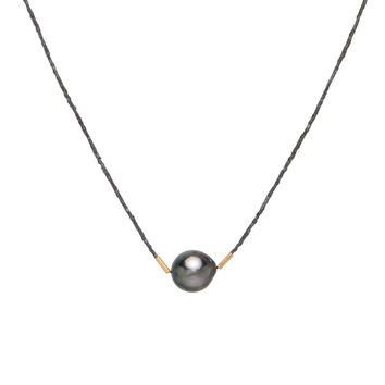 Dana Kellin Fine Jewelry Tahitian Pearl and Oxidized Silver Beaded Necklace