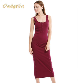 Oukytha  Summer Style Women Maxi Dress Sleeveless Sexy Deep U-neck Vintage Dress Hign Waist Long Dress With Buttons J15003