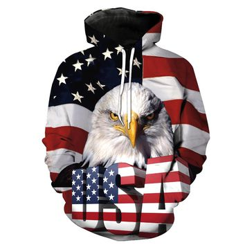 USA - American Flag - Eagle - All Over Print Hoodie Sweater