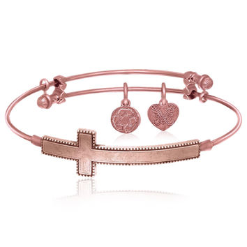 Expandable Bangle in Pink Tone Brass with The Sideways Cross Symbol