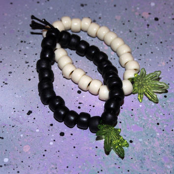 Green Marijuana 420 Weed Leaf Beaded Bracelet // Black or White Pony Bead Kandi Marijuana Bracelet // 420 Blaze It Weed Bracelet