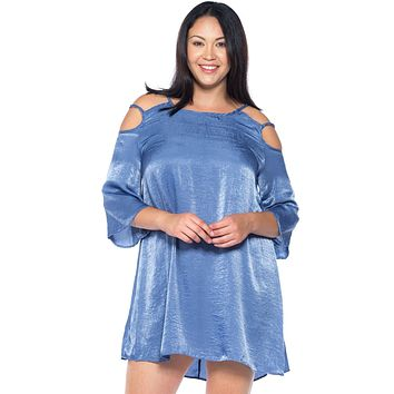 Ladies fashion plus size cold-shoulder satin swing mini dress