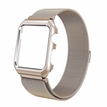 Stainless Steel Mesh Milanese Loop Compatible for Apple Watch Band with Case 42mm, Adjustable Magnetic Closure Replacement Wristband iWatch Band for Apple Watch Series 3 2 1 - Gold