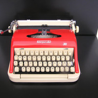 Red typewriter superb working condition serviced new ribbon portable industrial writing writer retro home decor