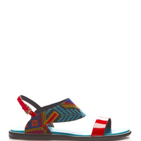 Nicholas Kirkwood Mexican Patent Leather and Embroidered Sandals Red