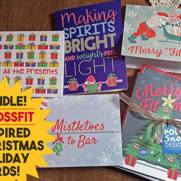 BUNDLE SPECIAL Crossfit Inspired 15-Pack Christmas Holiday Cards - 3 of Each Design