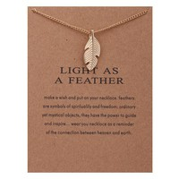 Feather Card Alloy Clavicle Pendant Necklace   171212