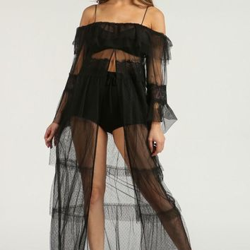 Brittini Sheer Mesh Cover Up and Top (Black)