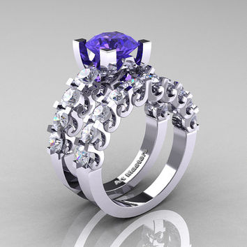 Modern Vintage 14K White Gold 3.0 Ct Tanzanite White Sapphire Designer Wedding Ring Bridal Set R142S-14KWGWSTZ
