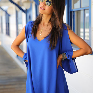 Royal Blue Longsleeve Split Chiffon Mini Dress