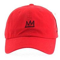 Jean Michel Basquiat Crown Baseball Cap Pre Curved Hat (3. Red)