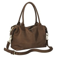 Merona® Genuine Leather Satchel Handbag with Removable Strap - Brown