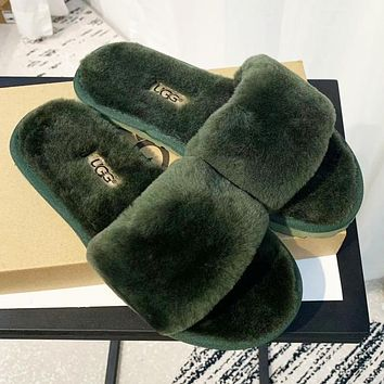 UGG Fashion Women Casual Fur Flats Sandals Slippers Shoes