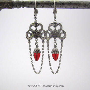 Gothic Chandelier Earrings - Bright Ruby Red - Silver Plated Goth Jewelry - Macbeth Crown