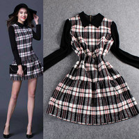 Plaid Long Sleeves Flounced Hem Mini Dress