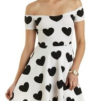 Heart Print Off-the-Shoulder Skater Dress - Black/White
