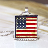 American Flag Glass Pendant,  Flag Charm,Patriotic Jewelry , Red white and Blue jewelry, Star Pendant