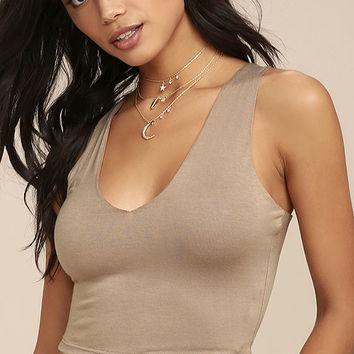 Feel Like Dancing Taupe Crop Top