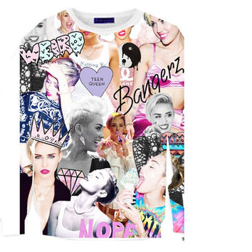 Miley Cyrus Tumblr Bangerz Love Collage Crewneck