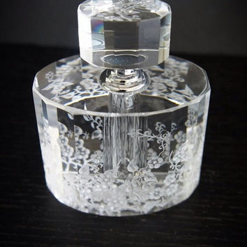 Perfume Bottle hand engraved with flowers
