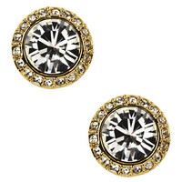 Givenchy 10Kt. Gold Plated and Swarovski Crystal Button Stud Earrings