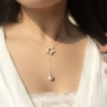 Womens Cute Diamond Stars Pendant Necklace Gift-93