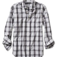 Banana Republic Mens Slim Fit Soft Wash Gray Check Shirt