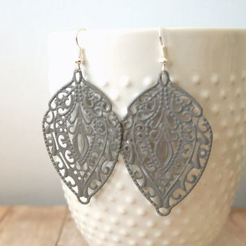 S T O N E - Stone Grey, Lace Handpainted Metal Filigree, Silver Plated Dangle Earrings