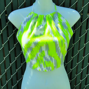Neon Rave Halter Festival Crop Top UV Reactive Neon Yellow Grey White