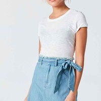 Silence + Noise Channing Chambray Tie-Waist Mini Skirt