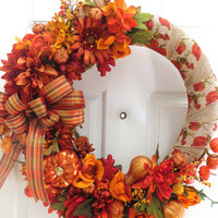 Fall Harvest Wreath, Autumn Wreath,Fall Wreath, Harvest Wreath, Pumpkin Wreath, Holiday Wreath, Thanksgiving Wreath, Door Wreath, Wreath