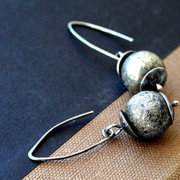Silver Pyrite or Fools Gold & Sterling Silver Earrings