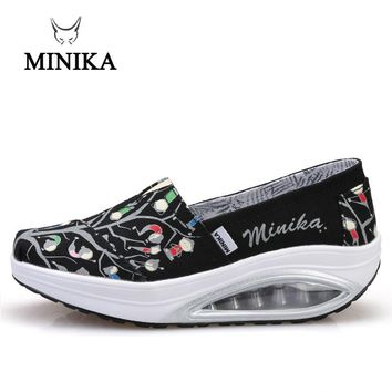 2018 Minika Fitness Shoes Women Sport Swing Wedges Platform Zapatos Mujer Canvas Trainers Loss Weight Feminino Toning Shoes