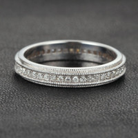 Diamond Wedding Band Eternity Anniversary Ring 14K White Gold Art Deco Double Milgrain